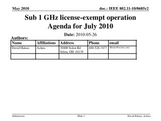 Sub 1 GHz license-exempt operation Agenda for July 2010