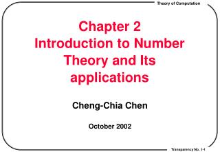 Chapter 2 Introduction to Number Theory and Its applications