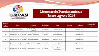 Licencias de Funcionamiento Enero-Agosto 2014