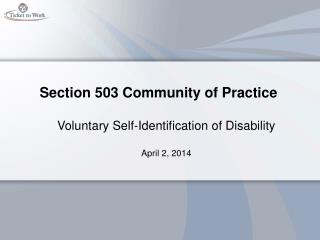 Section 503 Community of Practice