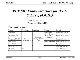 PHY SIG Frame Structure for IEEE 802.11aj (45GHz)