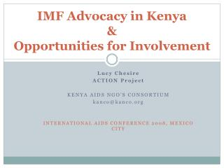 IMF Advocacy in Kenya  & Opportunities for Involvement