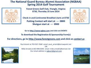 The National Guard Bureau Alumni Association (NGBAA) Spring 2014 Golf Tournament
