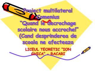"LICEUL TEORETIC ""ION GHICA"" - RACARI"
