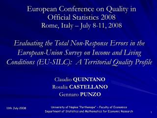 Claudio QUINTANO Rosalia CASTELLANO Gennaro PUNZO