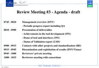 Review Meeting #3 - Agenda - draft