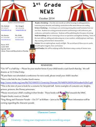 1 st Grade NEWS October 2014