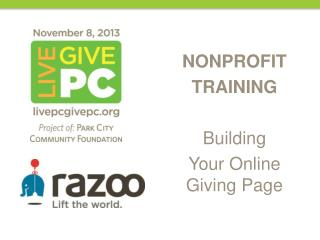 NONPROFIT TRAINING Building Your Online Giving Page