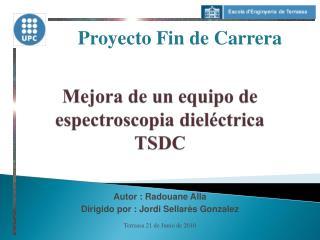 Mejora de un equipo de espectroscopia dieléctrica TSDC