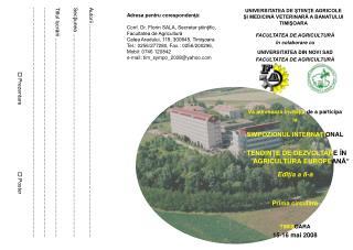 FACULTATEA DE AGRICULTURĂ în colaborare cu UNIVERSITATEA DIN NOVI SAD FACULTATEA DE AGRICULTURĂ
