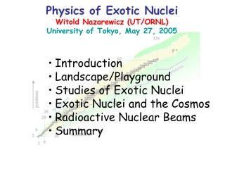 Physics of Exotic Nuclei Witold Nazarewicz (UT/ORNL) University of Tokyo, May 27, 2005