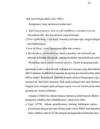 37 oleh teori belajar Hull (Adi, 1985). Komponen yang mendasari terdiri dari: