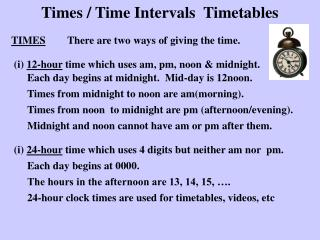 Times / Time Intervals Timetables