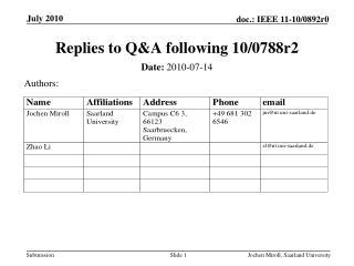 Replies to Q&A following 10/0788r2
