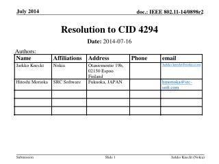 Resolution to CID 4294