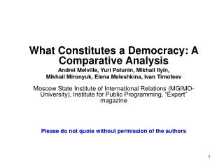 What Constitutes a Democracy: A Comparative Analysis