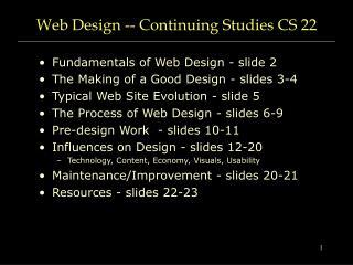 Web Design -- Continuing Studies CS 22