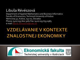 Vzdelávanie v kontexte znalostnej ekonomiky