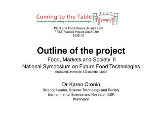Outline of the project 'Food, Markets and Society' II