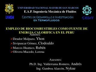 UNIVERSIDAD NACIONAL MAYOR DE SAN MARCOS E.A.P. Ingeniería Mecánica de Fluídos