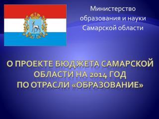 о проекте бюджета Самарской области на 2014 год по отрасли «Образование»