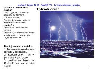 Facultad de Ciencias BQ-202 –Repartido Nº 3 - Corriente, resistencias y circuitos