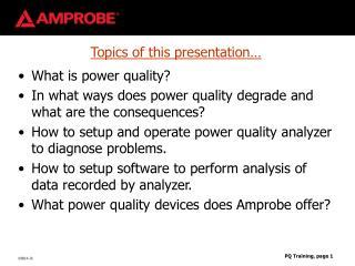 Topics of this presentation…