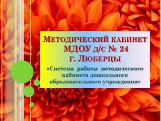Методический кабинет МДОУ д/с № 24 г. Люберцы