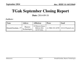 TGak September Closing  Report