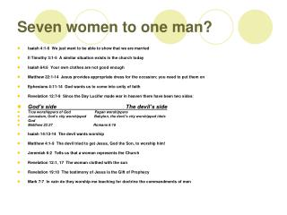 Seven women to one man?