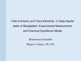 Fate of Arsenic and Trace Elements in Deep Aquifer water of Bangladesh: Experimental Measurement