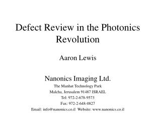 Defect Review in the Photonics Revolution