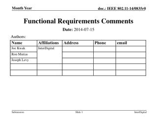 Functional Requirements Comments