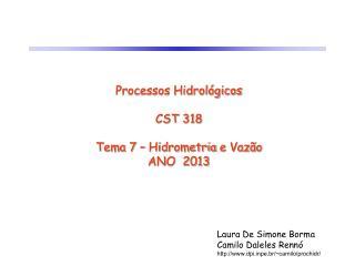 Processos Hidrológicos CST 318 Tema 7 – Hidrometria e Vazão ANO 2013