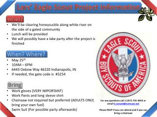 Lars' Eagle Scout Project Information