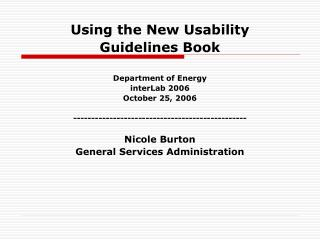 Using the New Usability  Guidelines Book Department of Energy interLab 2006 October 25, 2006