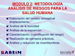 MODULO 2 : METODOLOGÍA ANÁLISIS DE RIESGOS PARA LA SALUD HUMANA