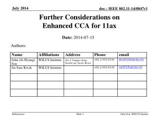 Further Considerations on Enhanced CCA for 11ax