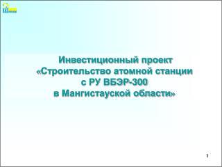 Инвестиционный проект « Строительство атомной станции с РУ ВБЭР-300 в Мангистауской области »