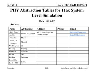 PHY Abstraction Tables for 11ax System Level Simulation
