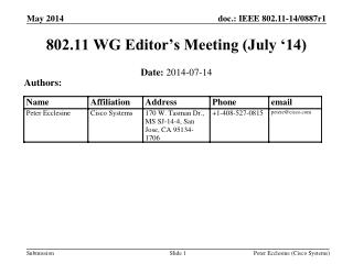 802.11 WG Editor's Meeting (July '14)