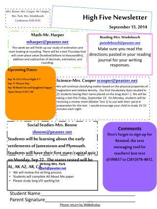 High Five Newsletter September  15,  2014