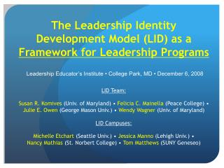 The Leadership Identity Development Model (LID) as a  Framework for Leadership Programs