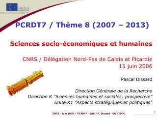Sciences socio-économiques et humaines CNRS / Délégation Nord-Pas de Calais et Picardie