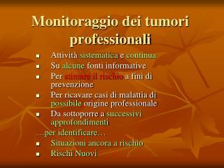 Monitoraggio dei tumori professionali
