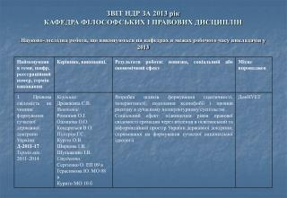 З ВІТ НДР ЗА 2013 рік КАФЕДРА ФІЛОСОФСЬКИХ І ПРАВОВИХ ДИСЦИПЛІН