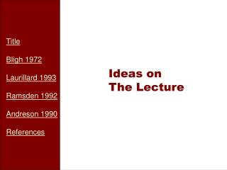 Ideas on The Lecture