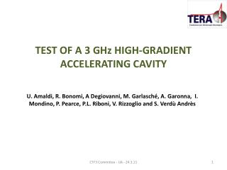 TEST OF A 3 GHz HIGH-GRADIENT ACCELERATING CAVITY