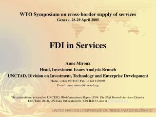 WTO Symposium on cross-border supply of services Geneva, 28-29 April 2005