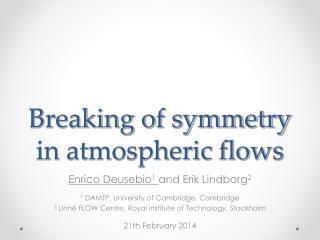 Breaking of symmetry in atmospheric flows